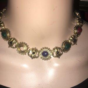 Vintage gemstone statement necklace